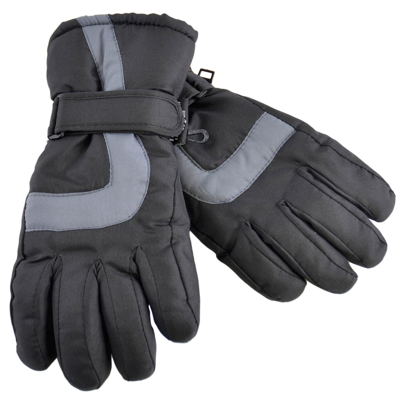 Kids Black & Grey Ski Gloves PVC Palm Grip Lined Warm