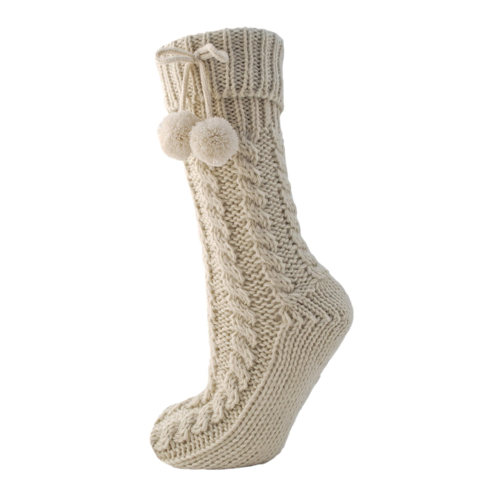 Ladies Chunky Cable Knit Slipper Socks Warm Fleece Lined Non Skid