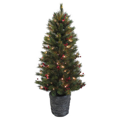 4ft Pine Pre-lit Artificial Christmas Tree With Red Berries