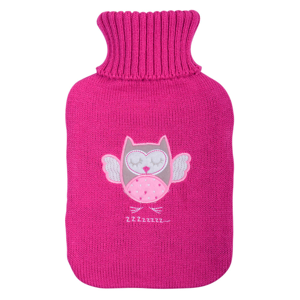 Owl Hot Water Bottle Cover Knitting Pattern : Hot Water Bottle & Pink Knitted Hottie Cover With Owl