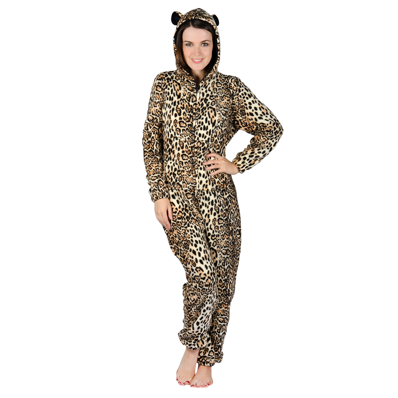 Womens Leopard Print Fleece All In One PJs Sleep Suit Onesie ...