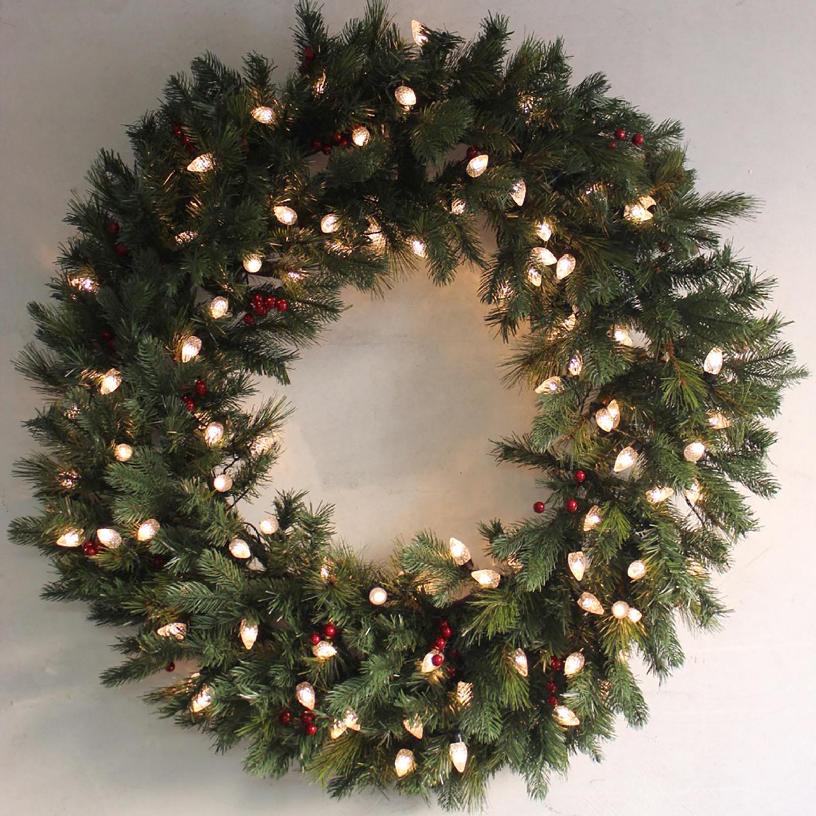 Giant Artificial Christmas Wreath - Green Pine Prelit Warm ...