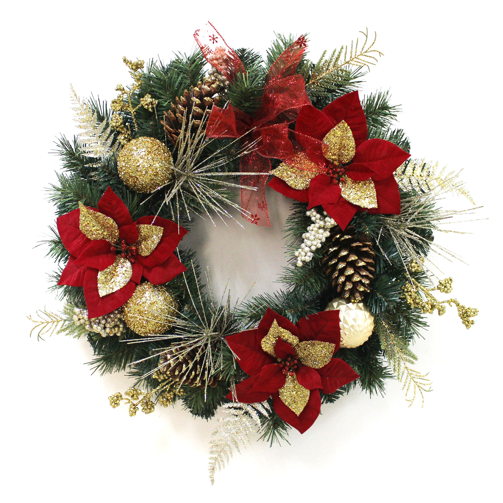 "24"" Decorated Christmas Wreath Poinsettia Baubles"