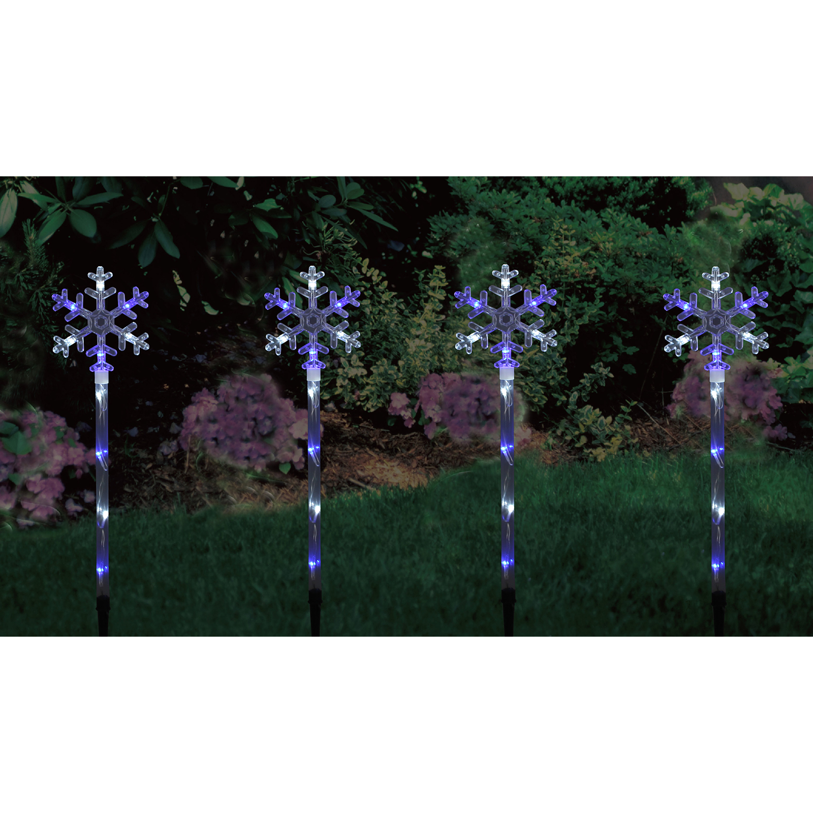 4 linked light up blue white snowflake outdoor garden path for Outdoor light up ornaments