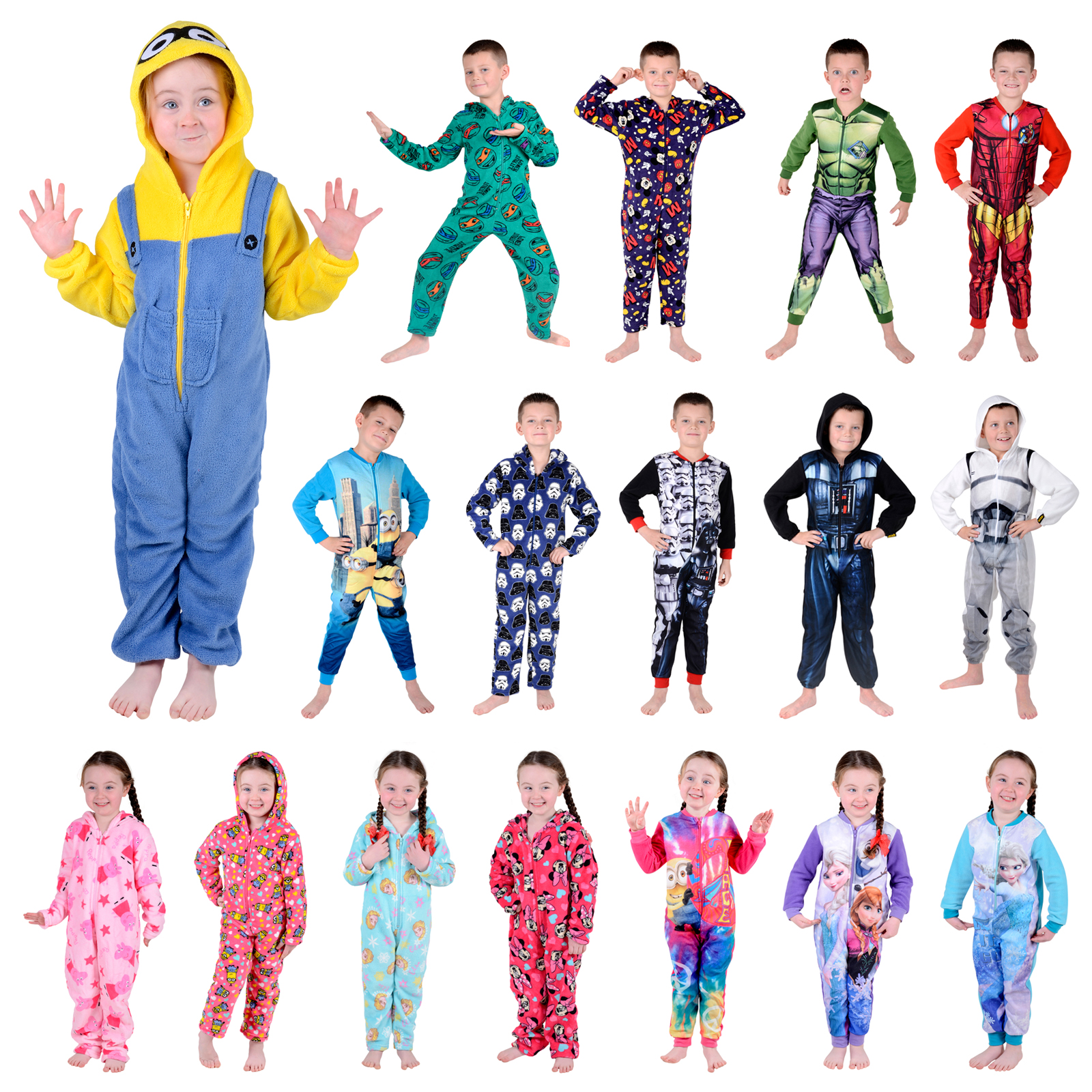 kids onesie official character fleece all in one boys