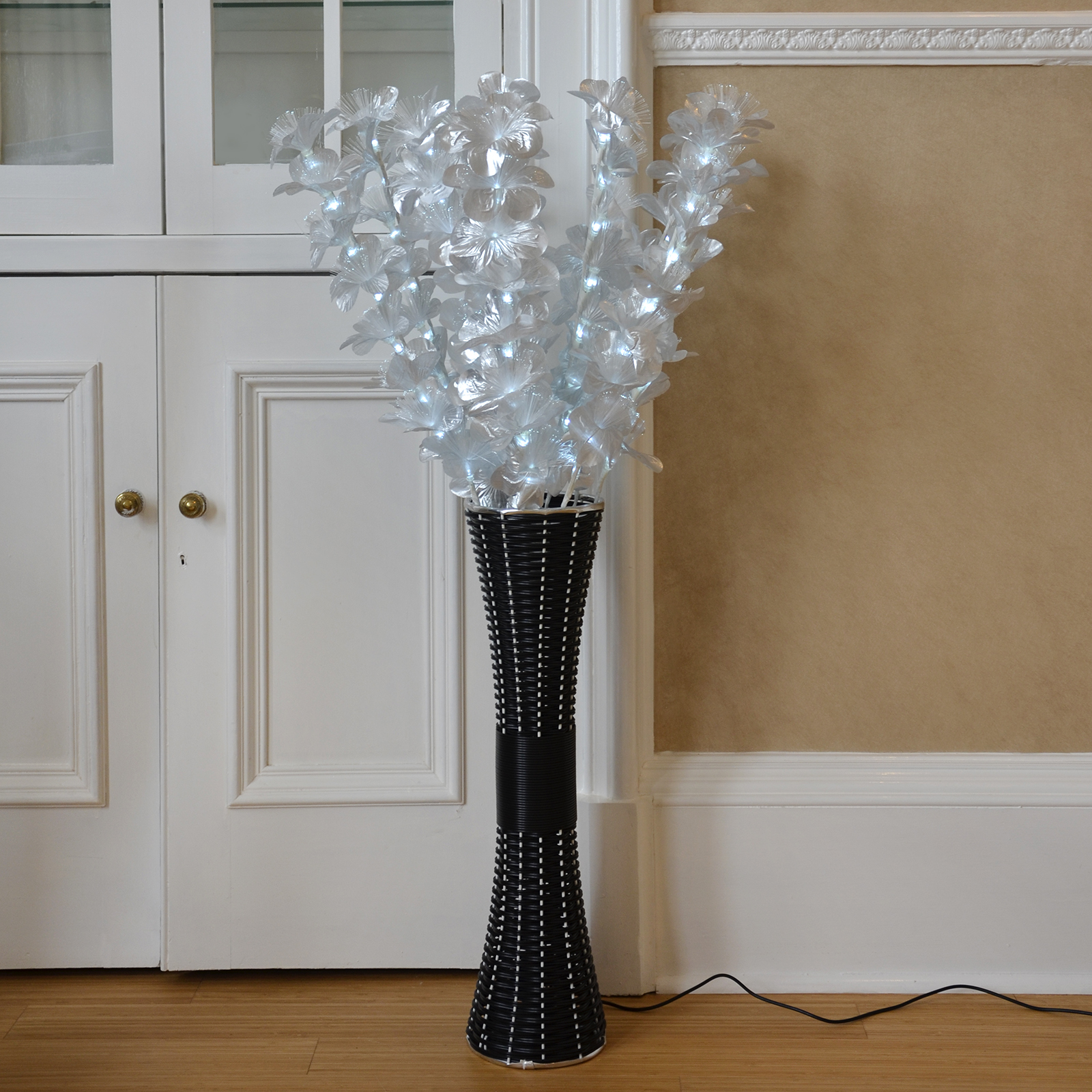 Floor standing fibre optic lamp flowers indoor white for Lights for home decor