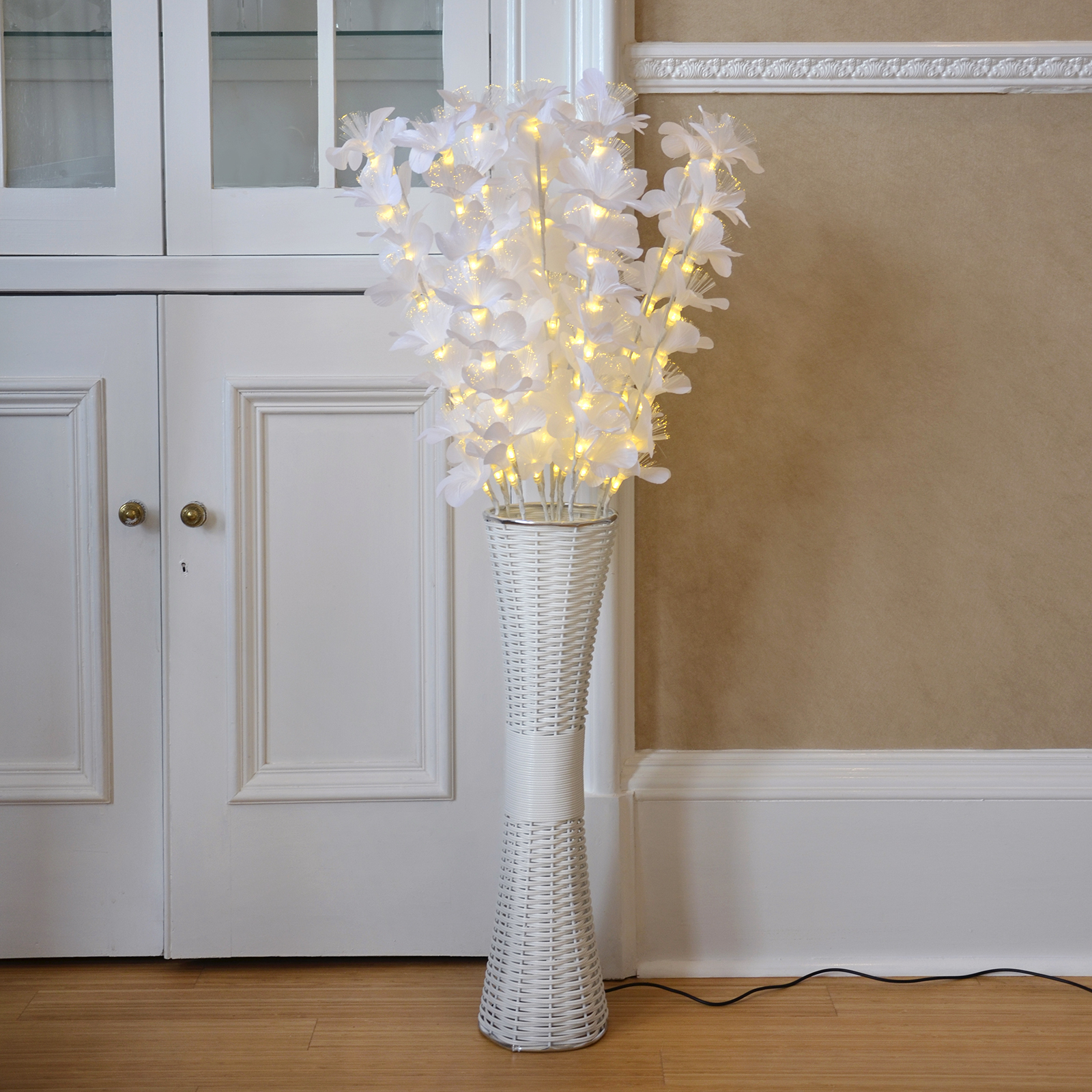 Floor standing fibre optic lamp flowers indoor white for Home decorations ebay