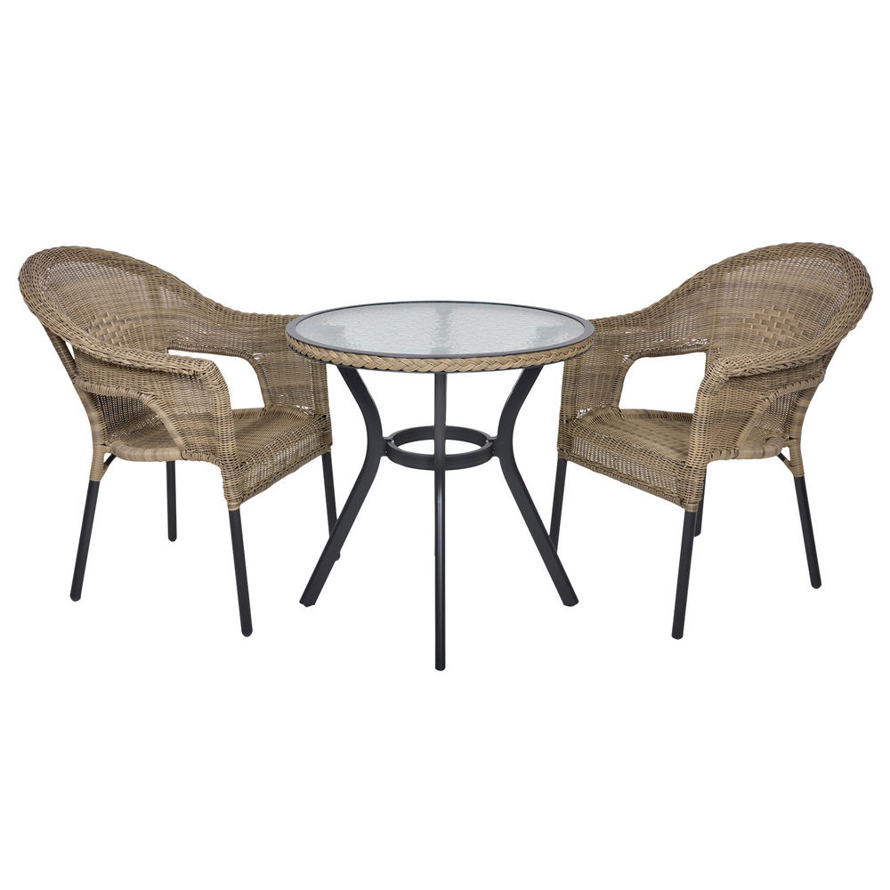 Havana rattan bistro 2 seat garden furniture table for Garden furniture table and chairs