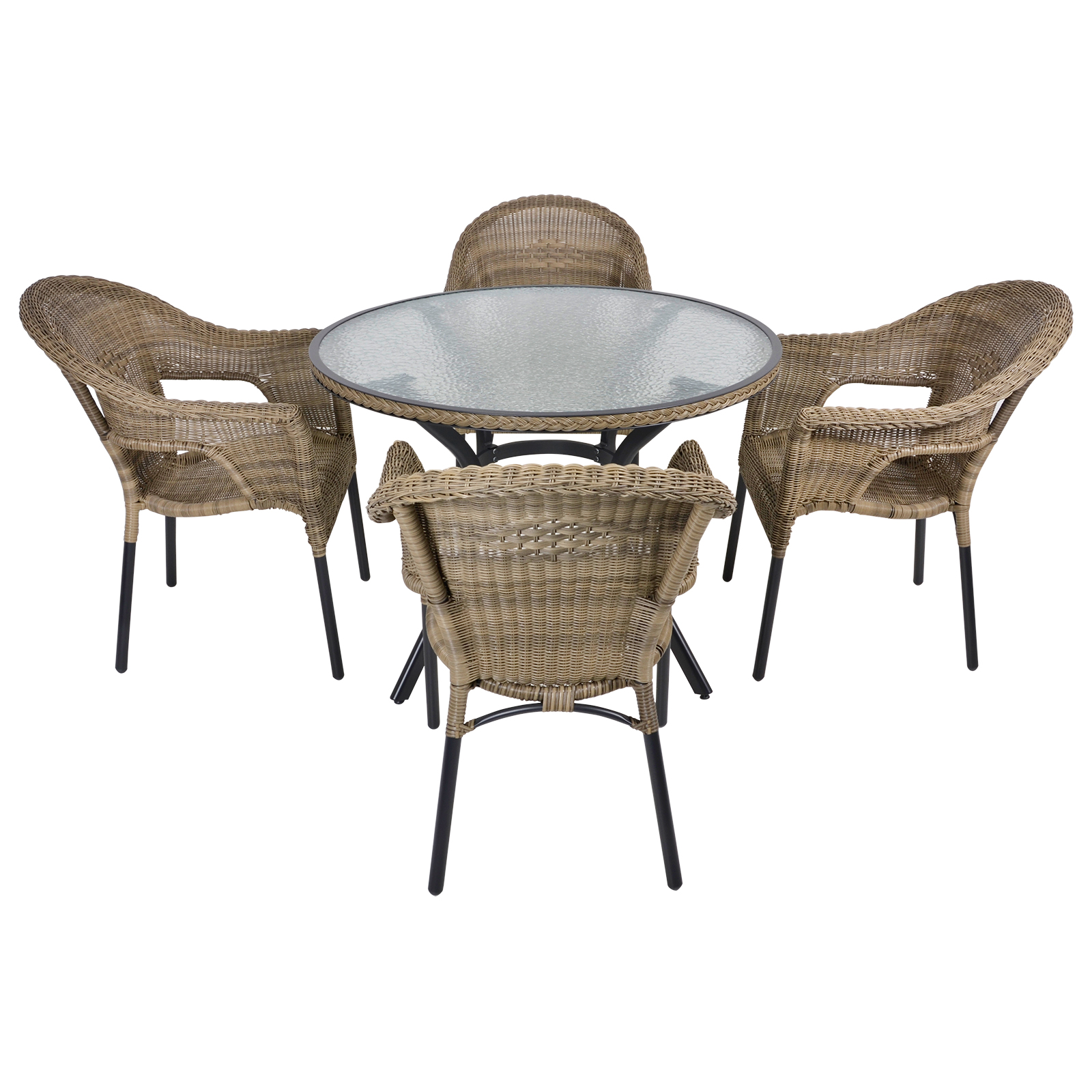 havana rattan wicker dining 4 seat garden patio furniture. Black Bedroom Furniture Sets. Home Design Ideas
