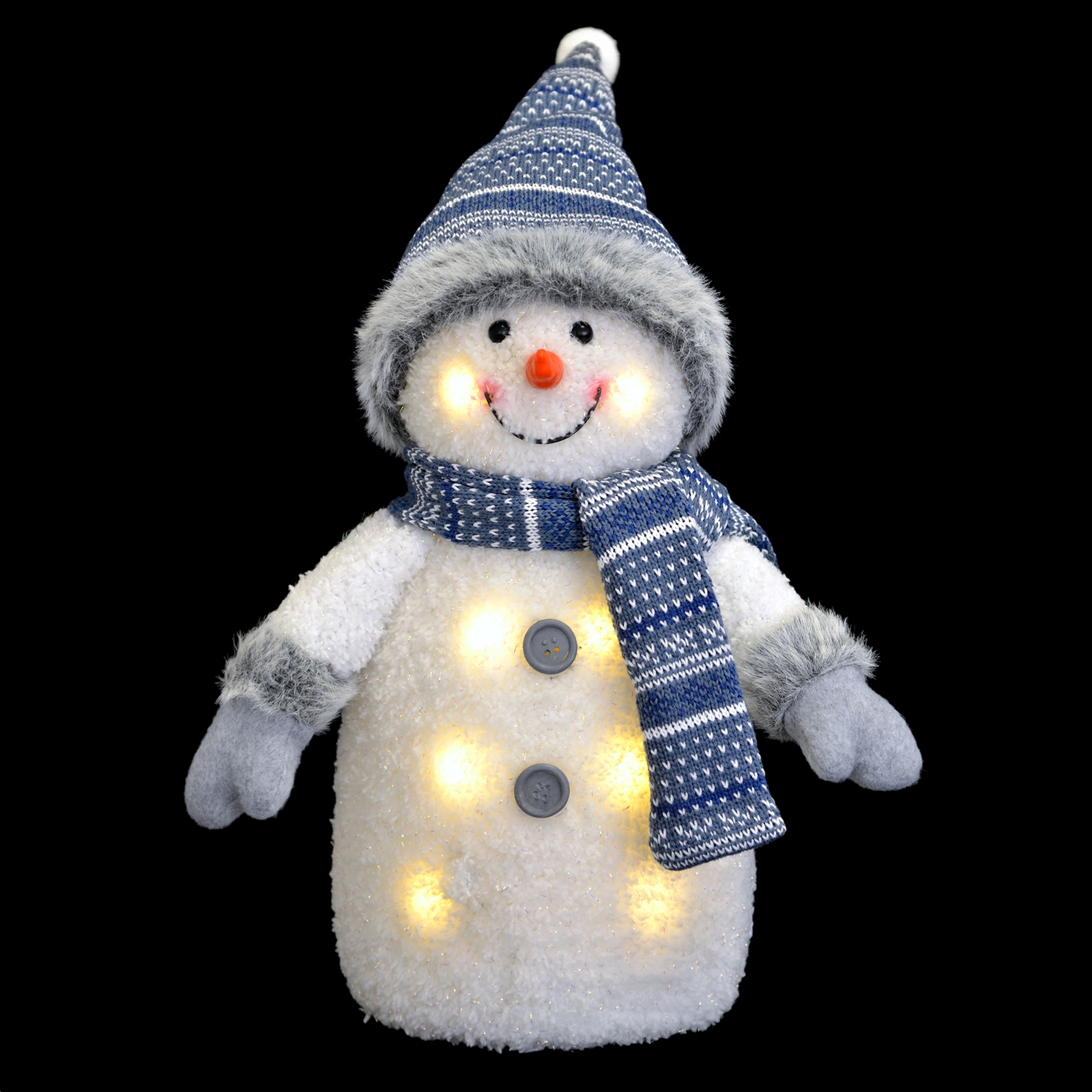 Blue White Light Up Snowman Christmas Decoration With Hat