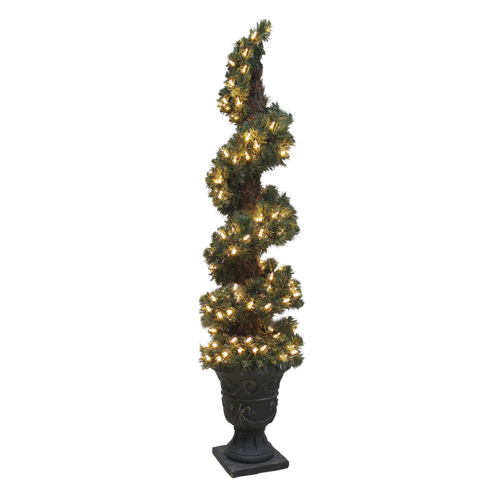 Christmas Tree Indoor Lights: Pre-Lit Artificial Spiral Shaped Christmas Tree Indoor