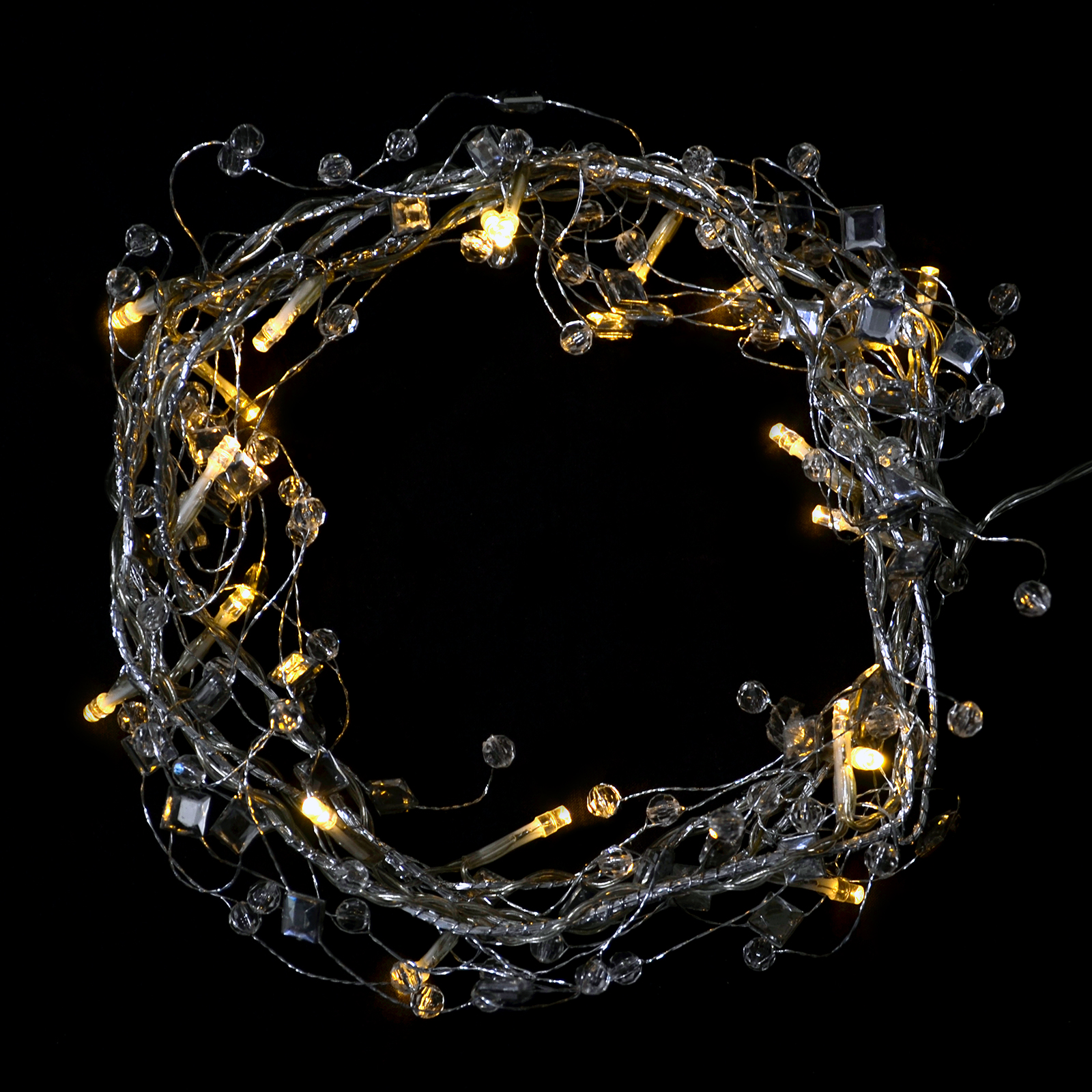 Christmas Garland String Lights : 20 LED Lights Garland String Crystal Beads Flower Leaf Christmas Battery Home eBay
