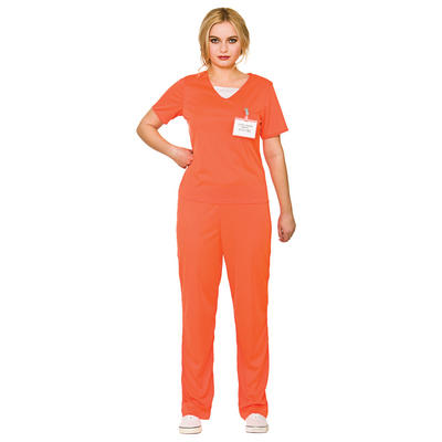 Ladies Orange Convict Prisoner Inmate Halloween Fancy Dress Costume