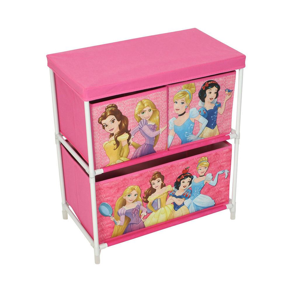 Disney Princesses Kids Storage Box 3 Drawers Bedroom Furniture