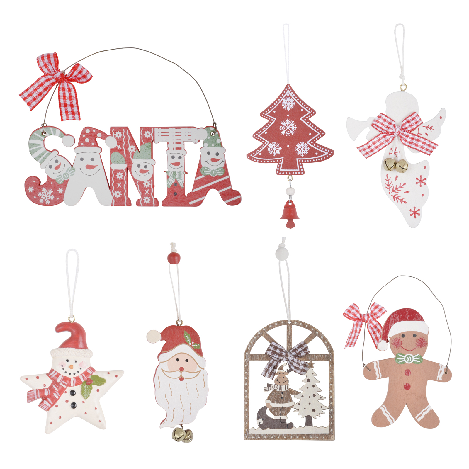 Christmas Tree Decorations Pack Novelty Hanging Ornaments