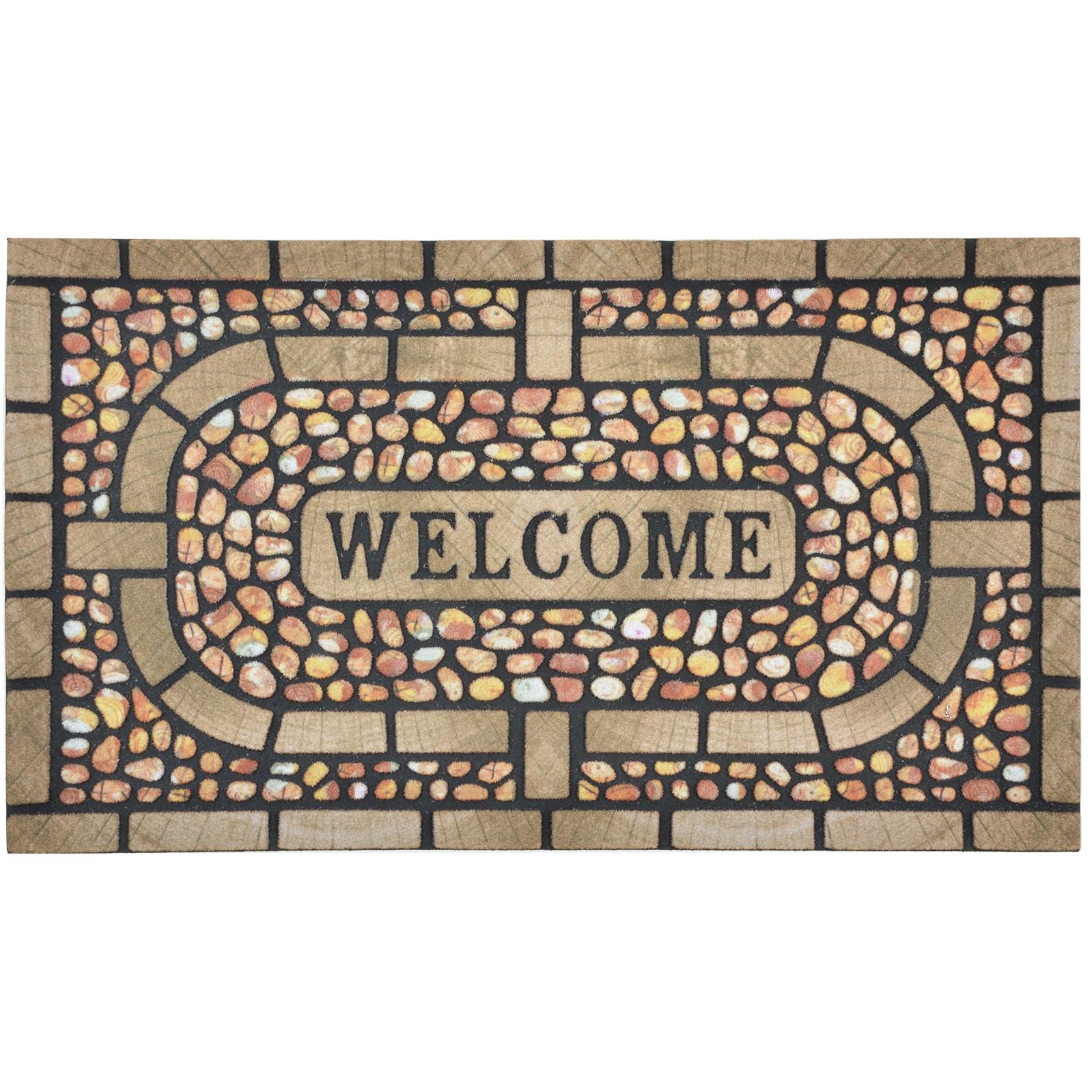 flocked rubber modern welcome design doormat floor 75cm