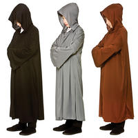 Kids Long Hooded Robe Jedi Wizard Halloween Fancy Dress Costume