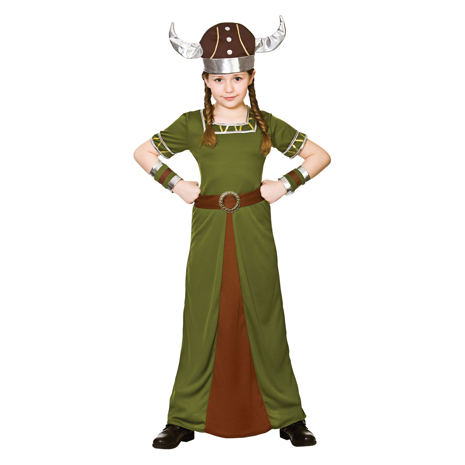 Girls Viking Princess Medieval Norse Halloween Fancy Dress Party Kids Costume