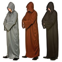 Adults Long Hooded Jedi Robe Halloween Fancy Dress Costume