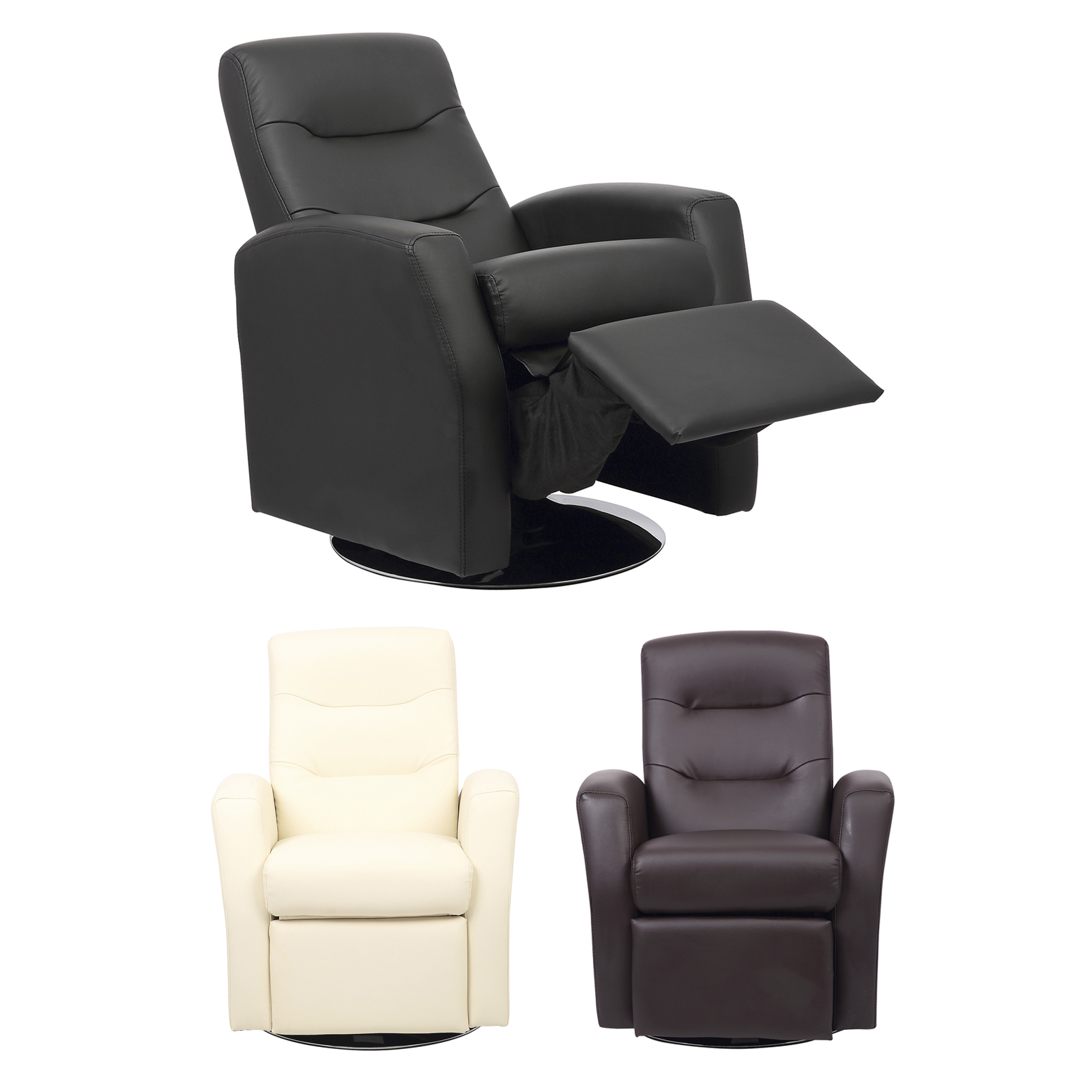 Kids Reclining Swivel Chair Living Room Furniture Padded Faux Leather Headrest Ebay