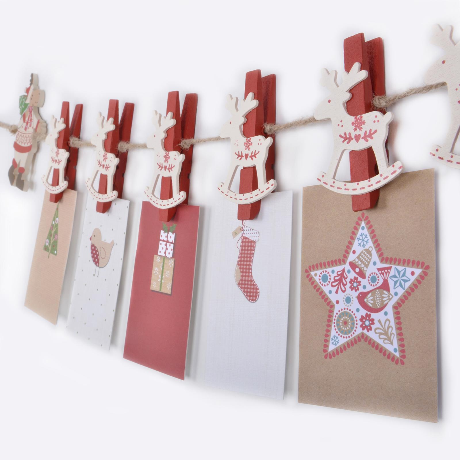novelty christmas card holder garland with reindeer shaped