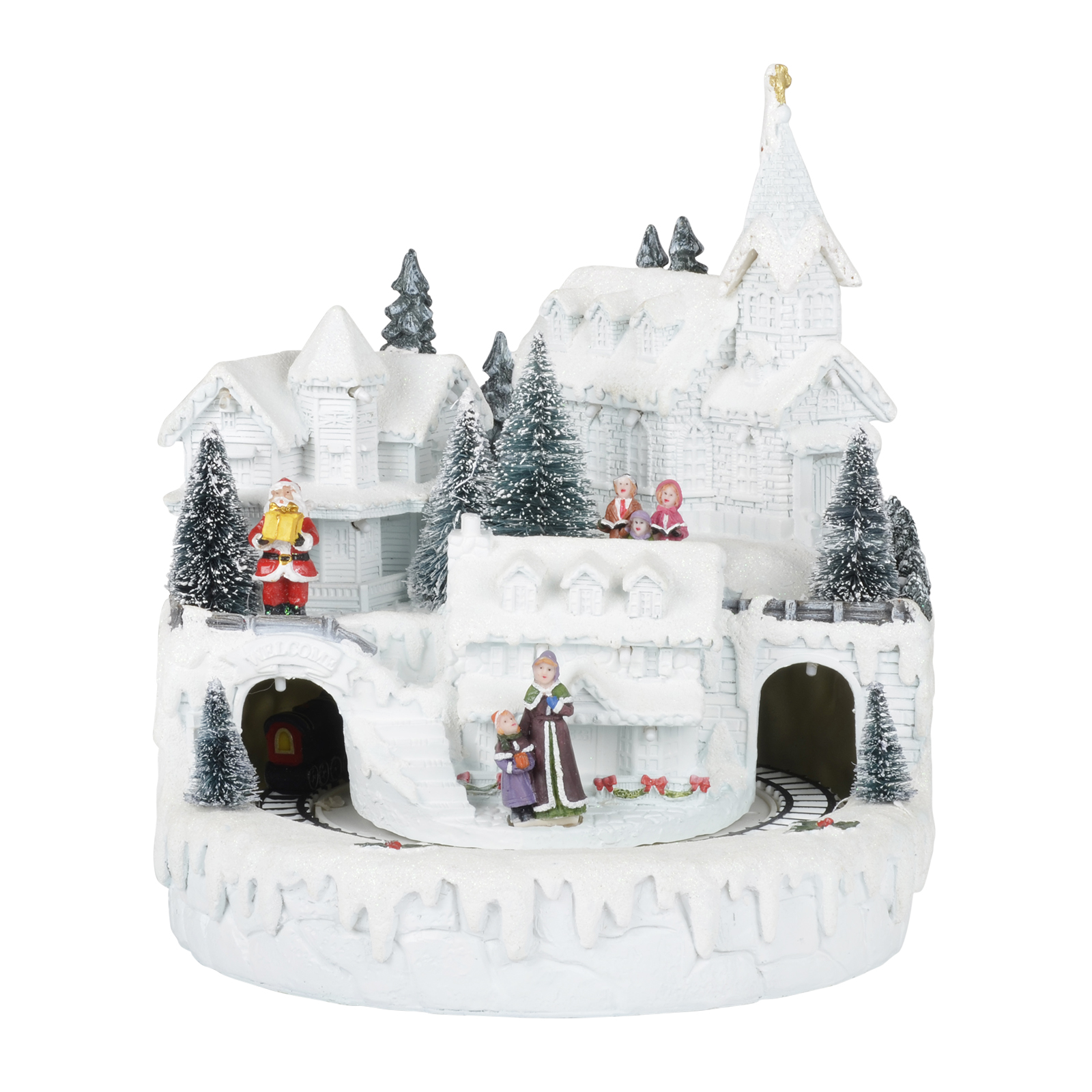 Light Up White LED Christmas Ornament Village Town Painted