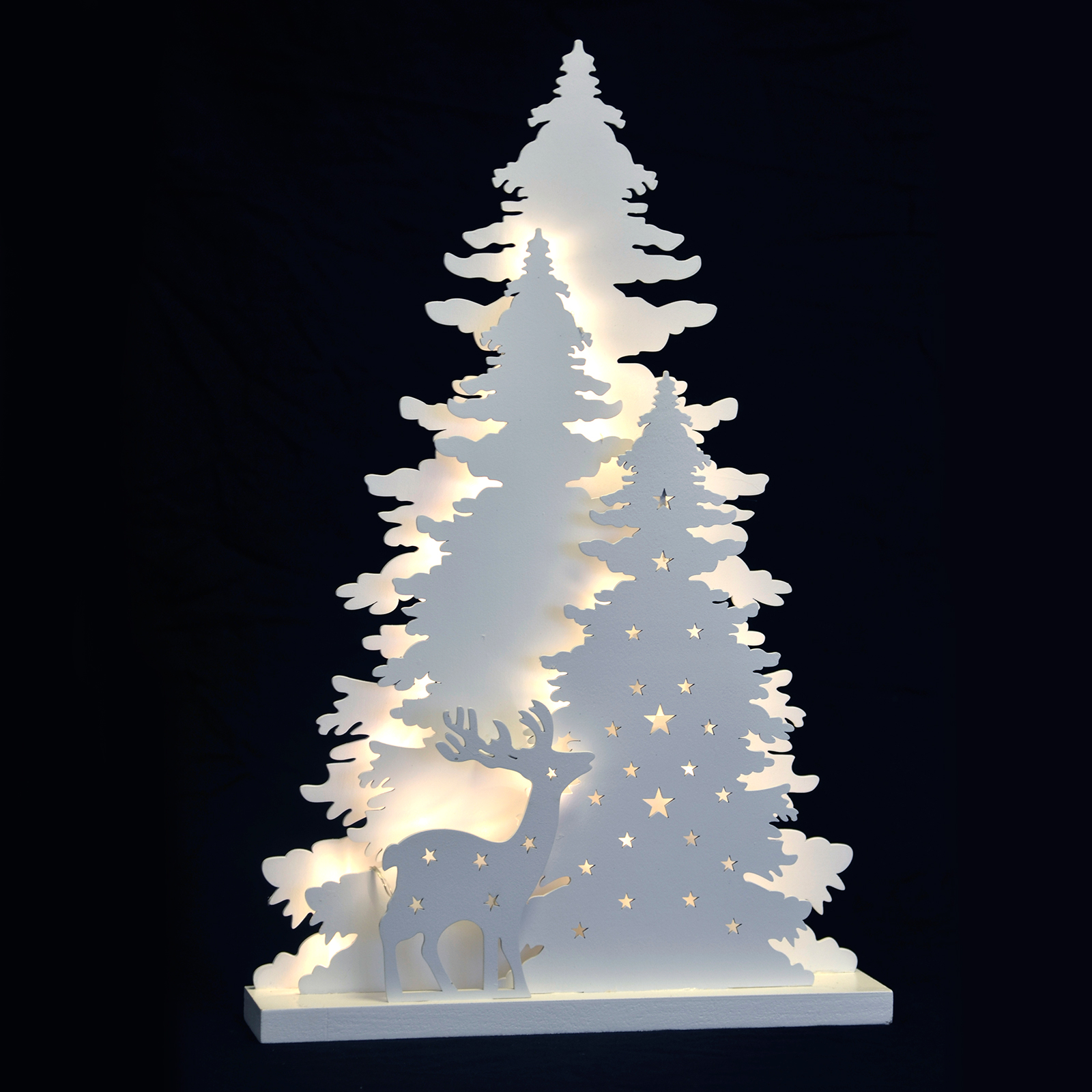 Winter tree scene standing led light up christmas wood