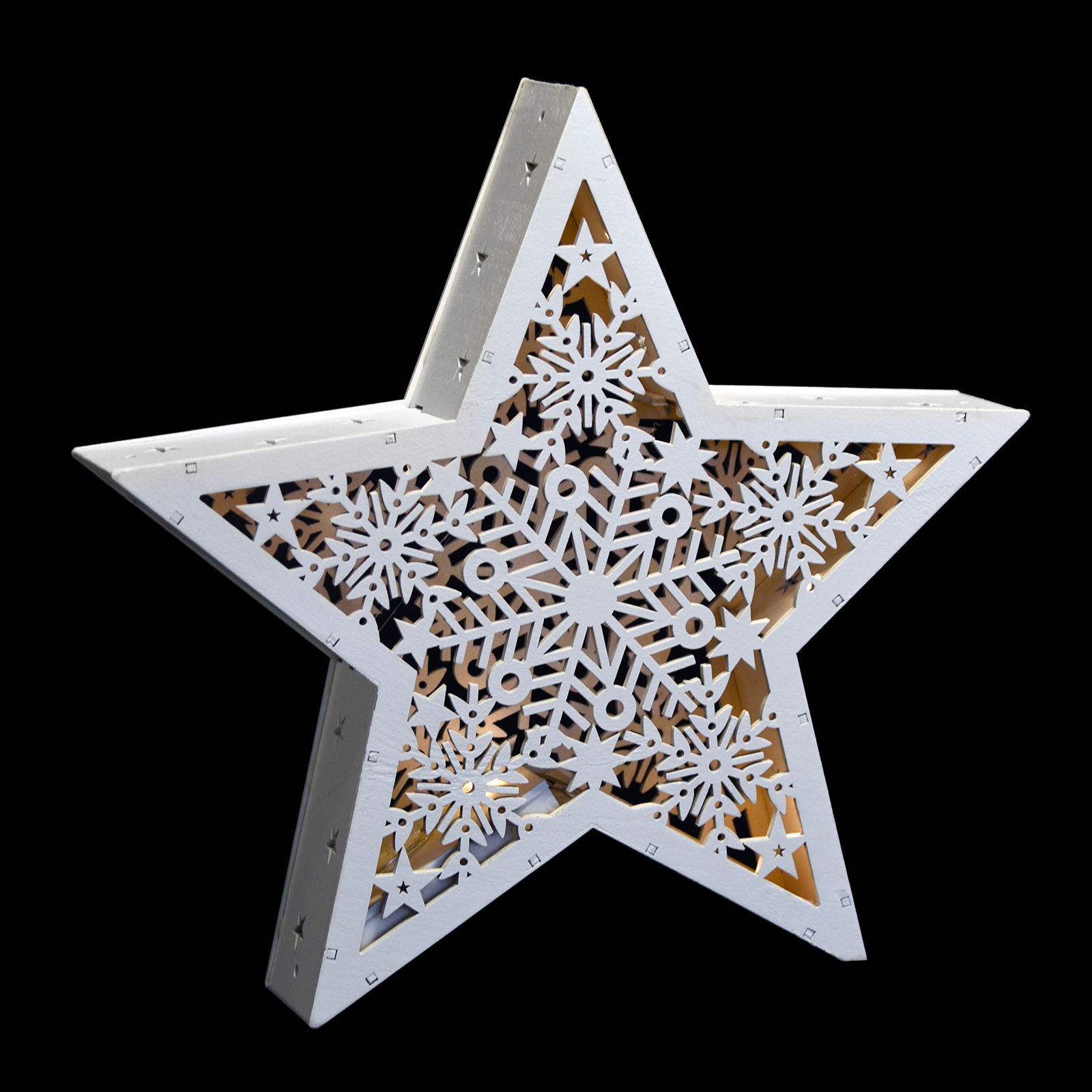 White Star Standing LED Light Up Christmas Cut Out Wood