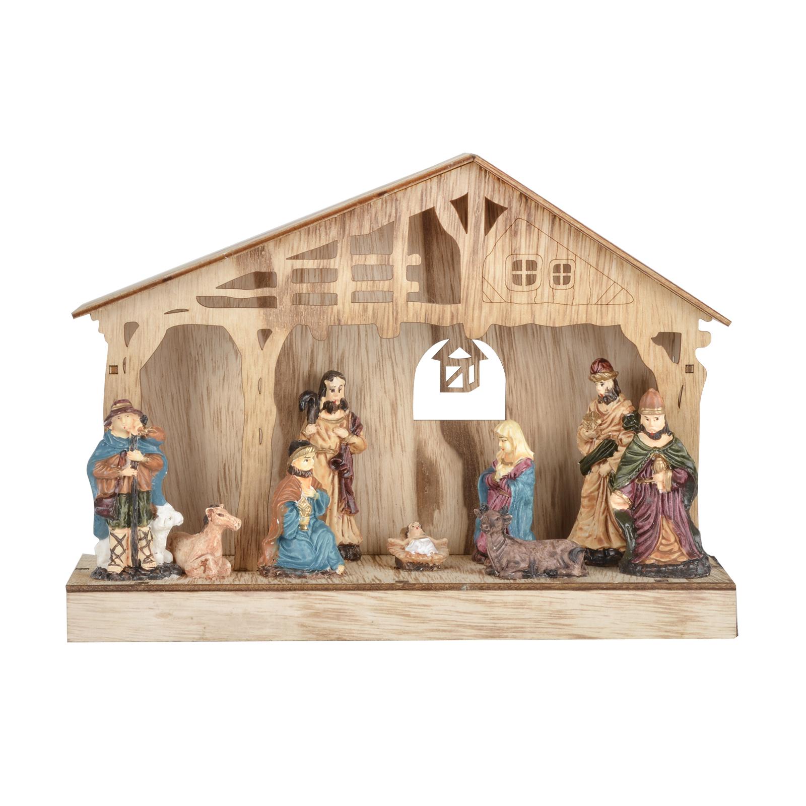Nativity scene standing led lights christmas wooden for Decoration fenetre creche