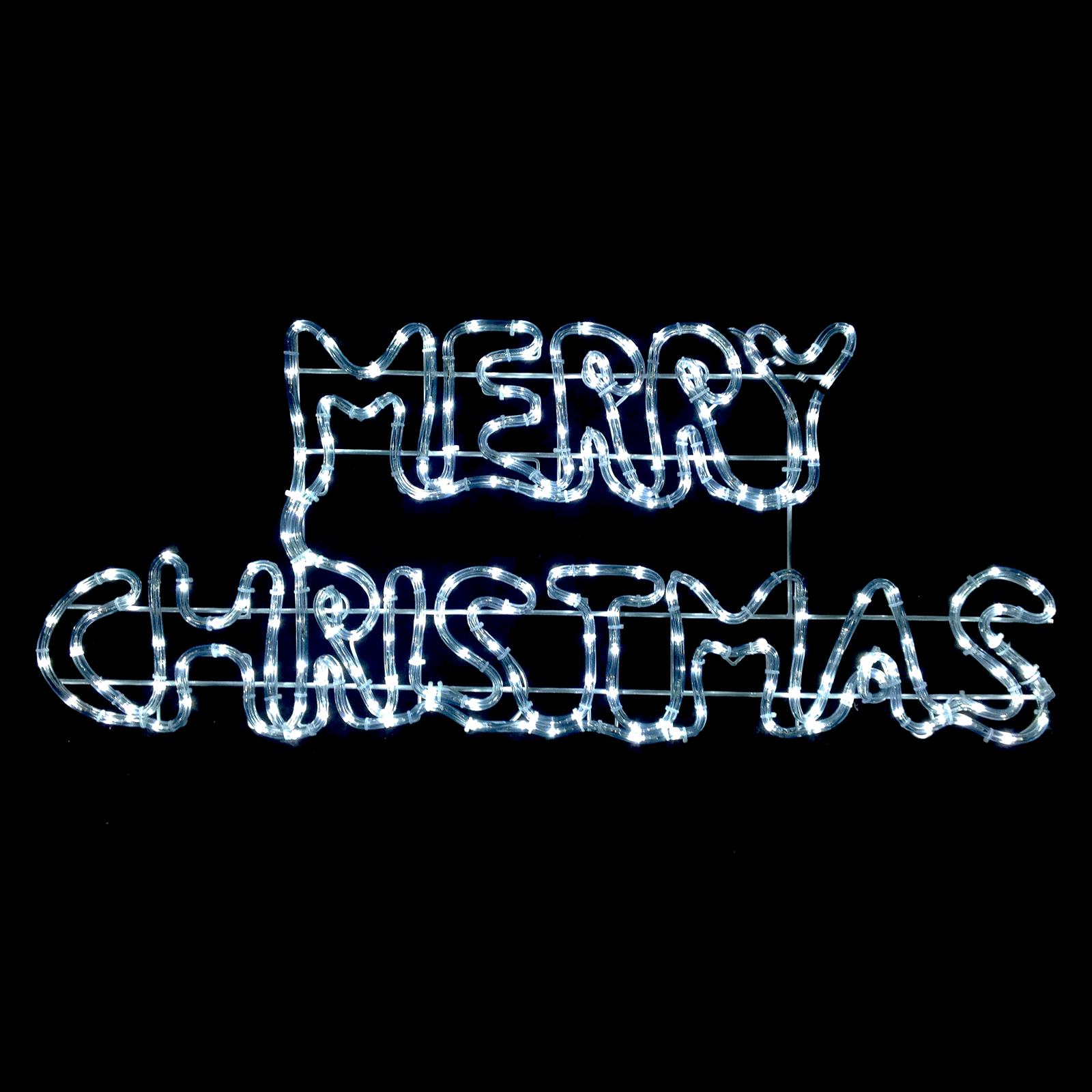 Merry Christmas Sign Rope Light White LED Twinkling ...