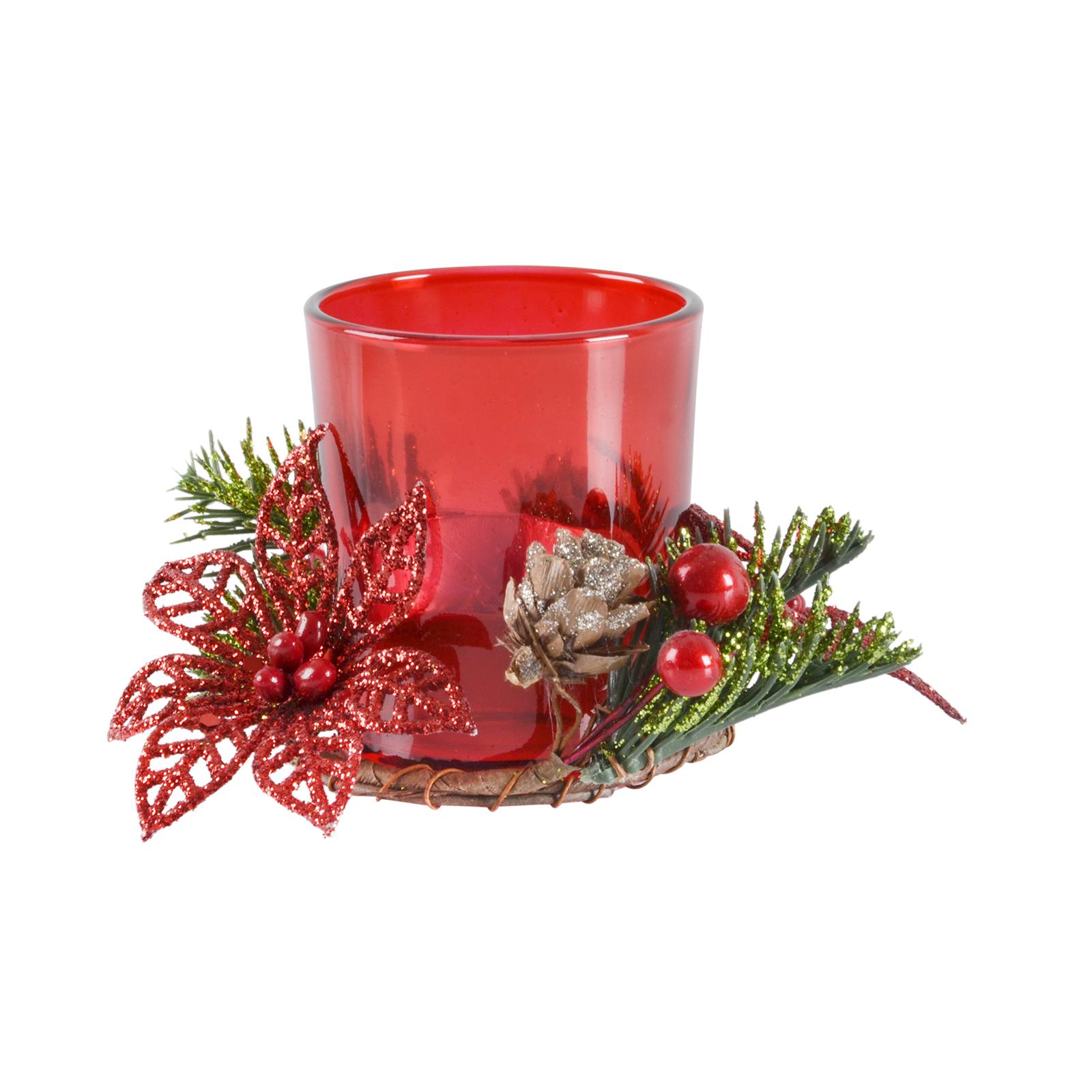 Village candle votive holder gift set festive christmas for Christmas pillar candle holders