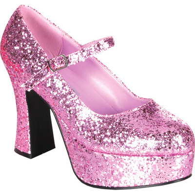 Seventies Fashion Boots on 70s Style Sexy Pink Glitter Mary Jane Fancy Dress Platform Shoes Uk 7