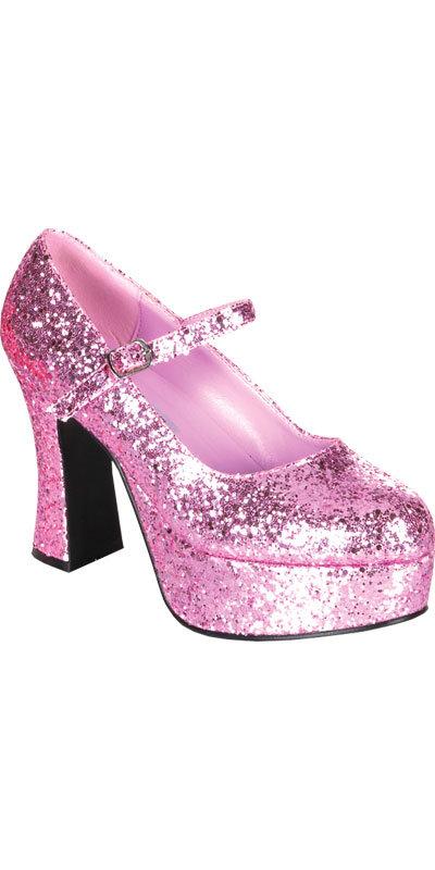 70s Style Sexy Pink Glitter Mary Jane Fancy Dress Platform Shoes