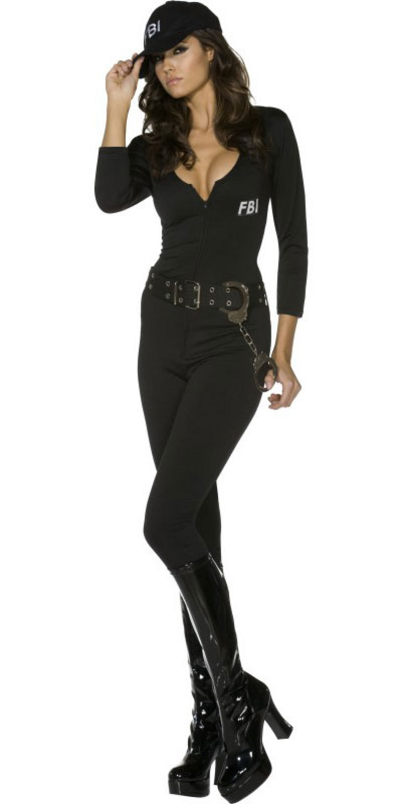 Very sexy fbi police cop catsuit fancy dress costume thumbnail 2