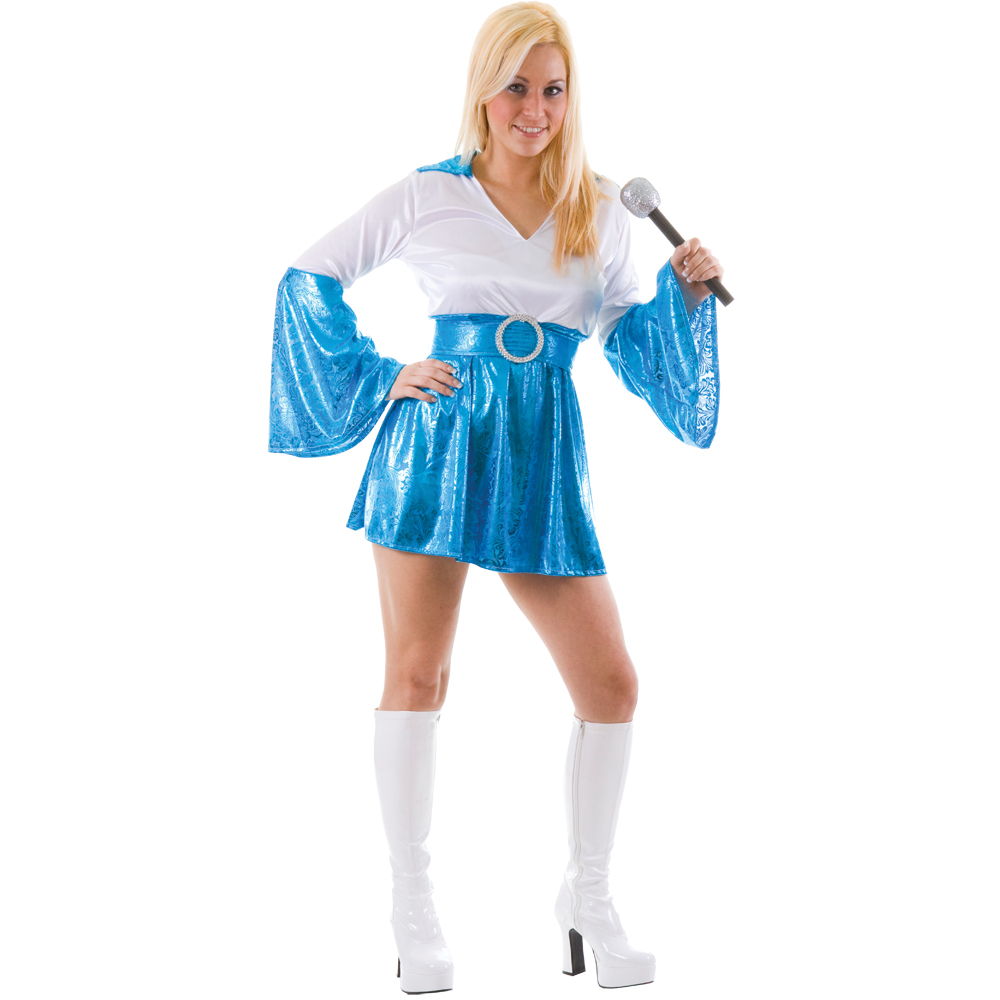 Dancing Queen Short 70s Abba Fancy Dress Costume Blue | eBay