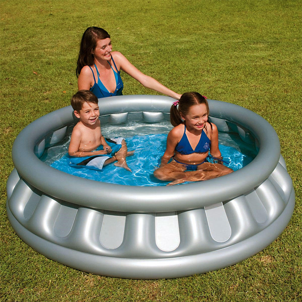 Inflatable Slide Paddling Pool: Splash & Play Inflatable Silver Space Ship Swimming