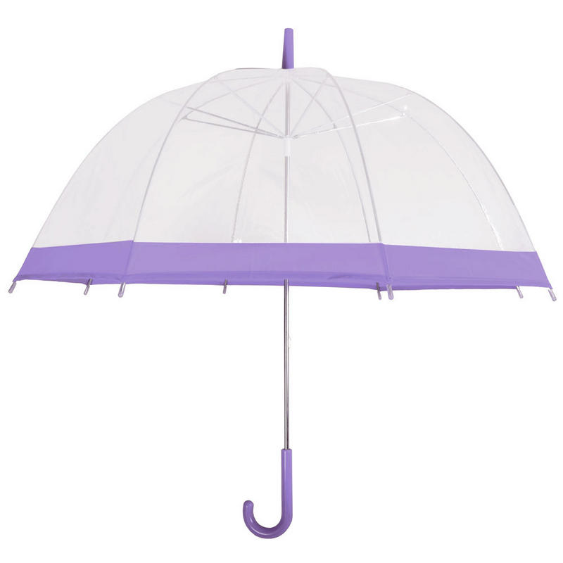 drizzles clear dome umbrella brolly purple trim