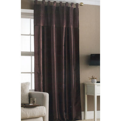 Embroidered Taffeta Window Curtain Panel Chocolate Sequins 145 x 228cm New