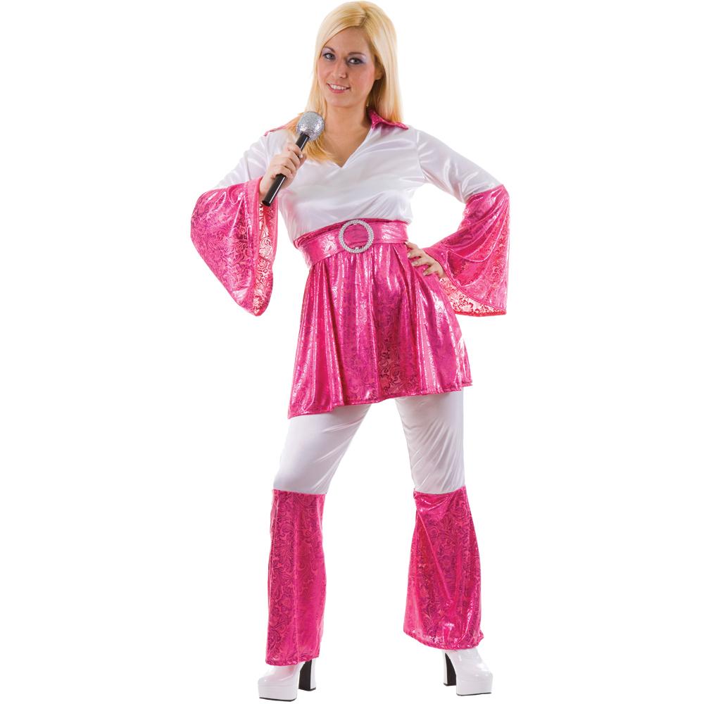 Mamma Mia 70s Abba Ladies Fancy Dress Costume Pink