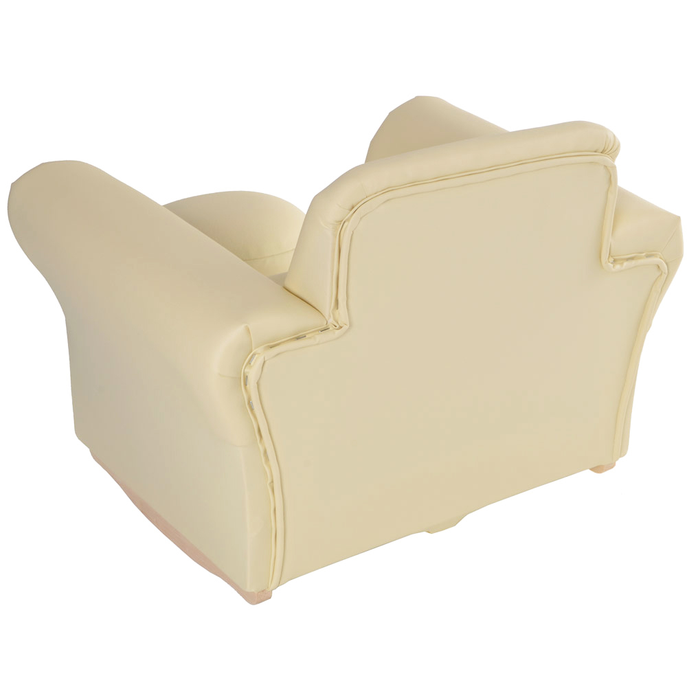 Childrens pu leather look rocker armchair stool cream for Childrens armchair and footstool