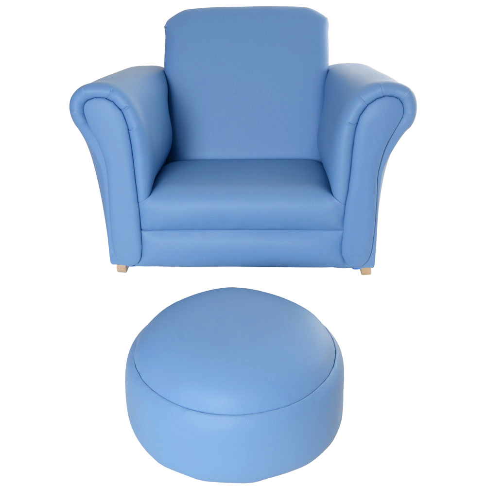 Childrens PU Leather Look Rocker Armchair & Stool Blue
