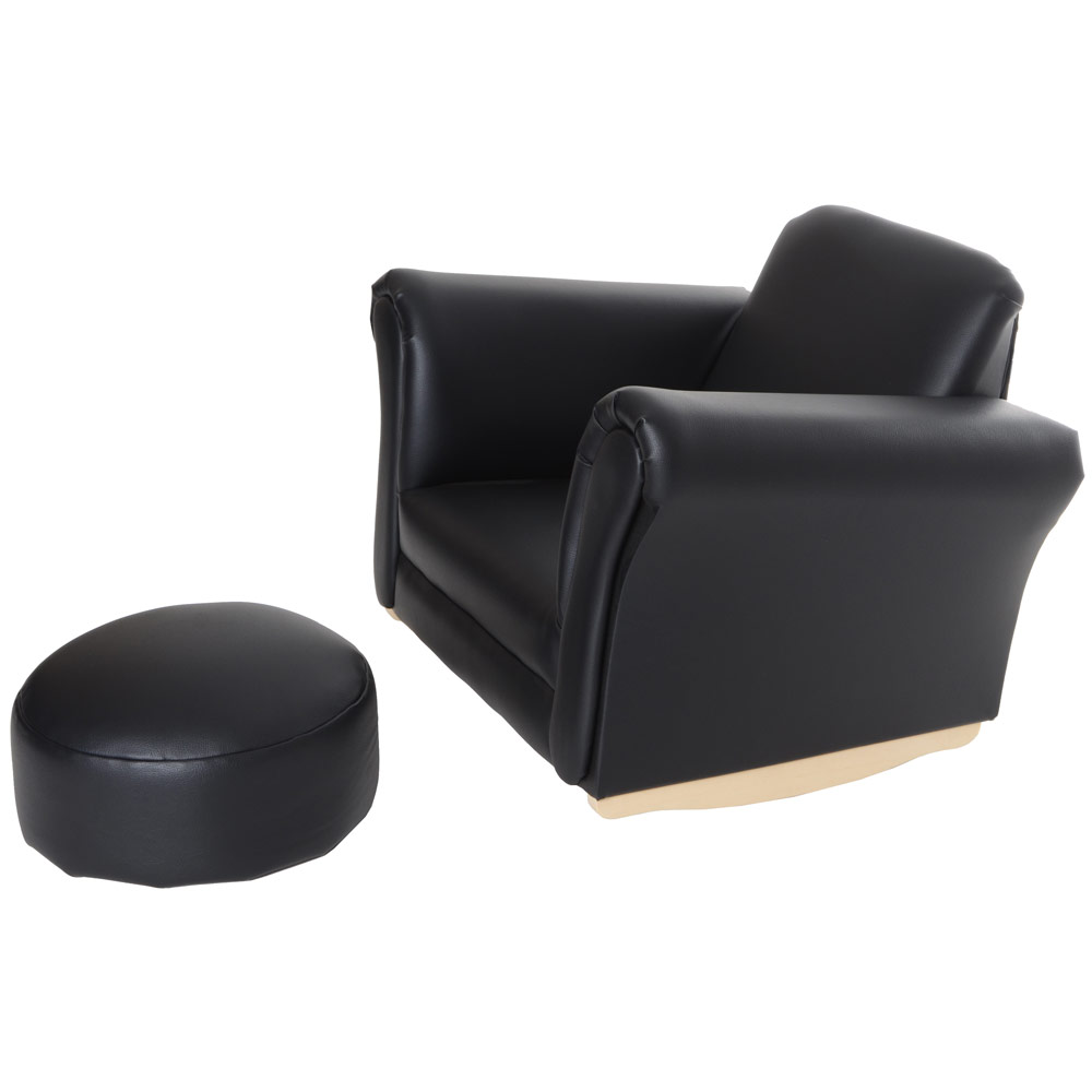 Children 39 s pu leather look comfy rocker rocking armchair for Toddler leather chair