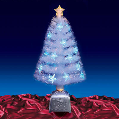 "Beautiful  32"" 80cm TransparentFibre Optic Christmas Tree With Blue LED Lights"