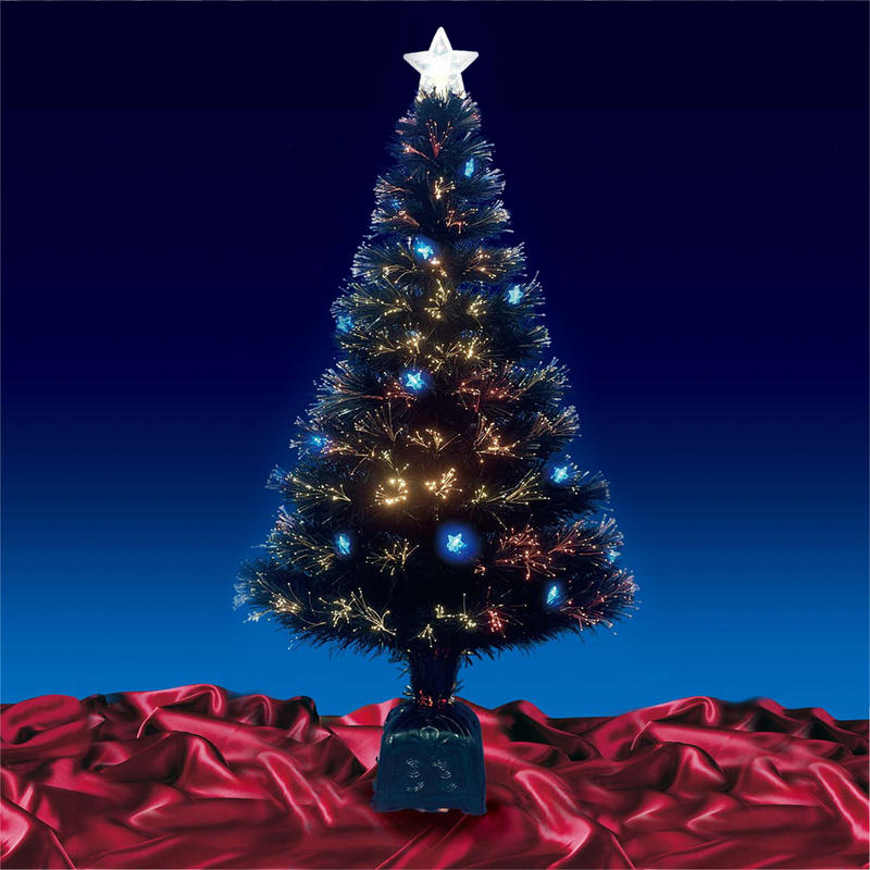 4ft Christmas Tree With Lights: Beautiful 4ft 120cm Black Fibre Optic Christmas Tree With