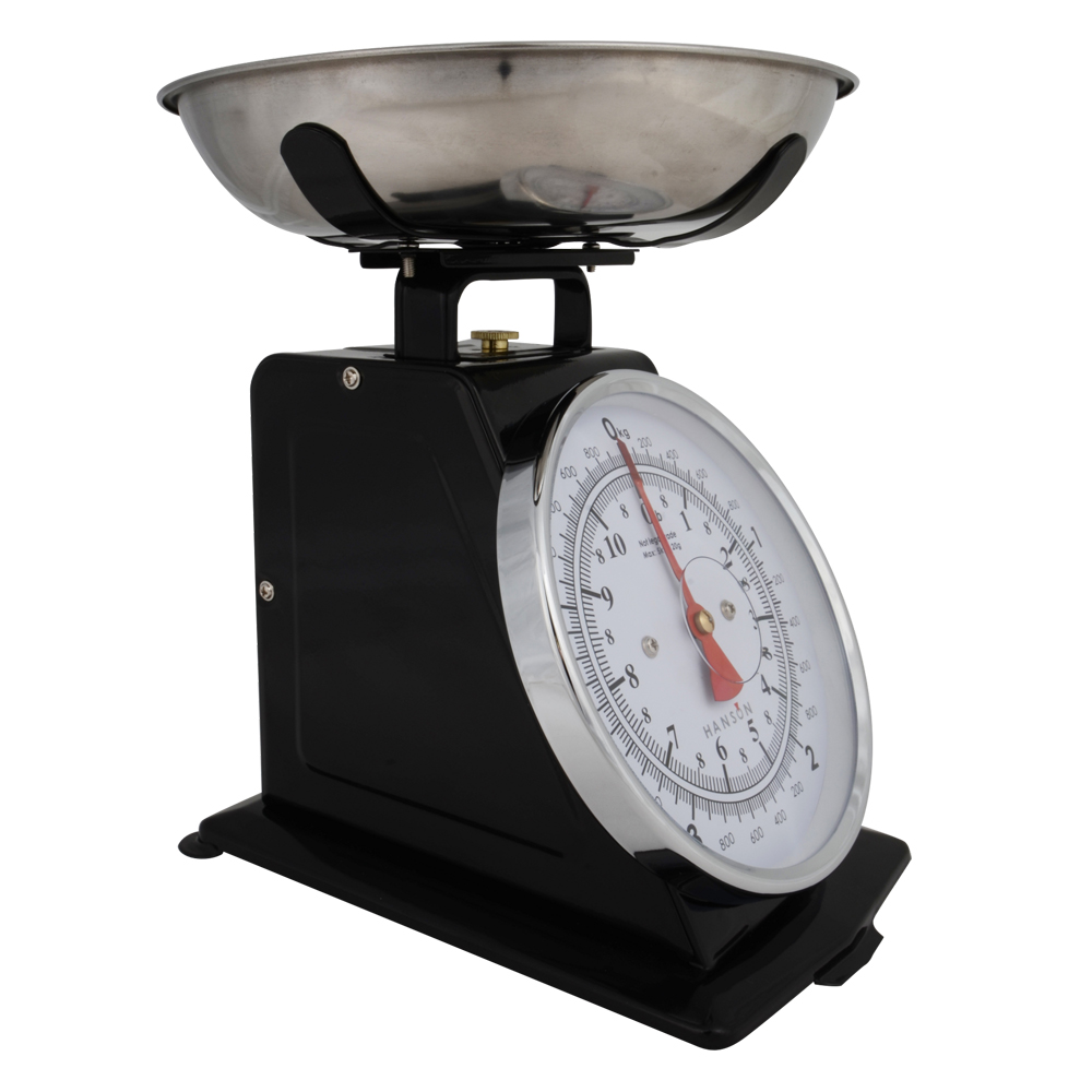 Hanson traditional mechanical kitchen scales black silv ebay for Traditional kitchen scales