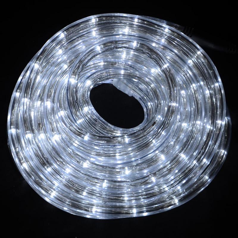 Multi Function Led String Lights : 12m Multi Function Indoor / Outdoor Festive Christmas White Flexible LED Rope Light