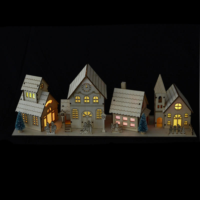 Light Up Colour Changing LED Light 4pc Wooden Village Scene Christmas ...