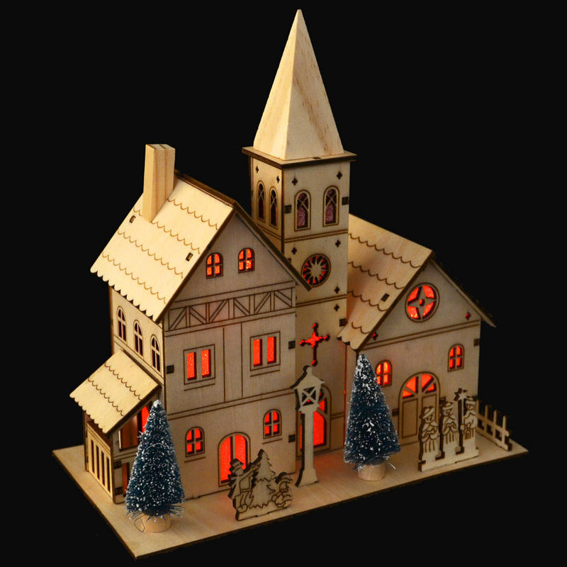 Light up colour changing led light wooden village church for Indoor christmas decorations sale