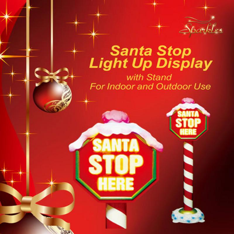 "1.6m Flashing Light Up ""Santa Stop Here"" Christmas Sign On"
