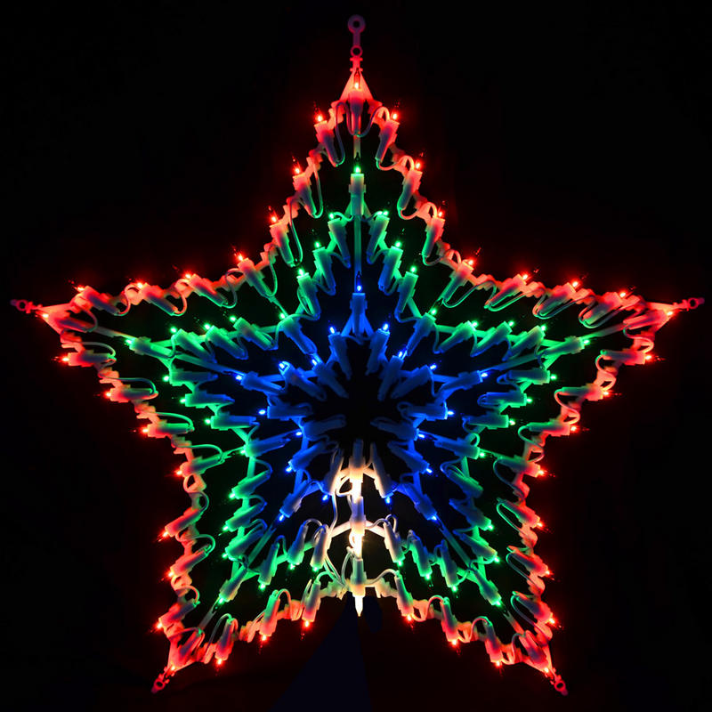 Festive 100 bulb multi coloured multi function christmas for Christmas star outdoor lights decorations